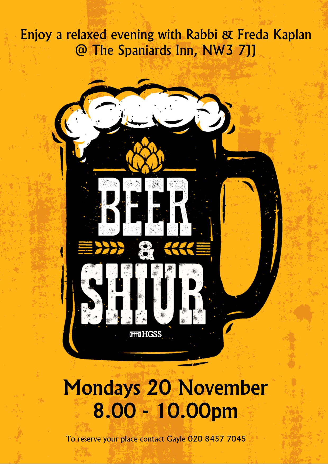 Beer & Shiur @ The Spaniards Inn, NW3 7JJ