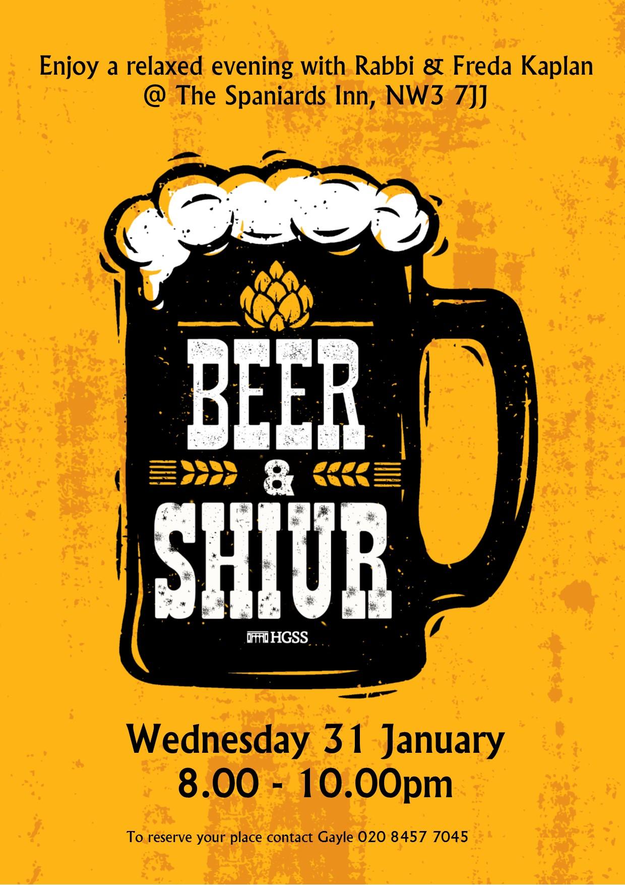 Beer & Shiur @ The Spaniards Inn, NW3 7JJ