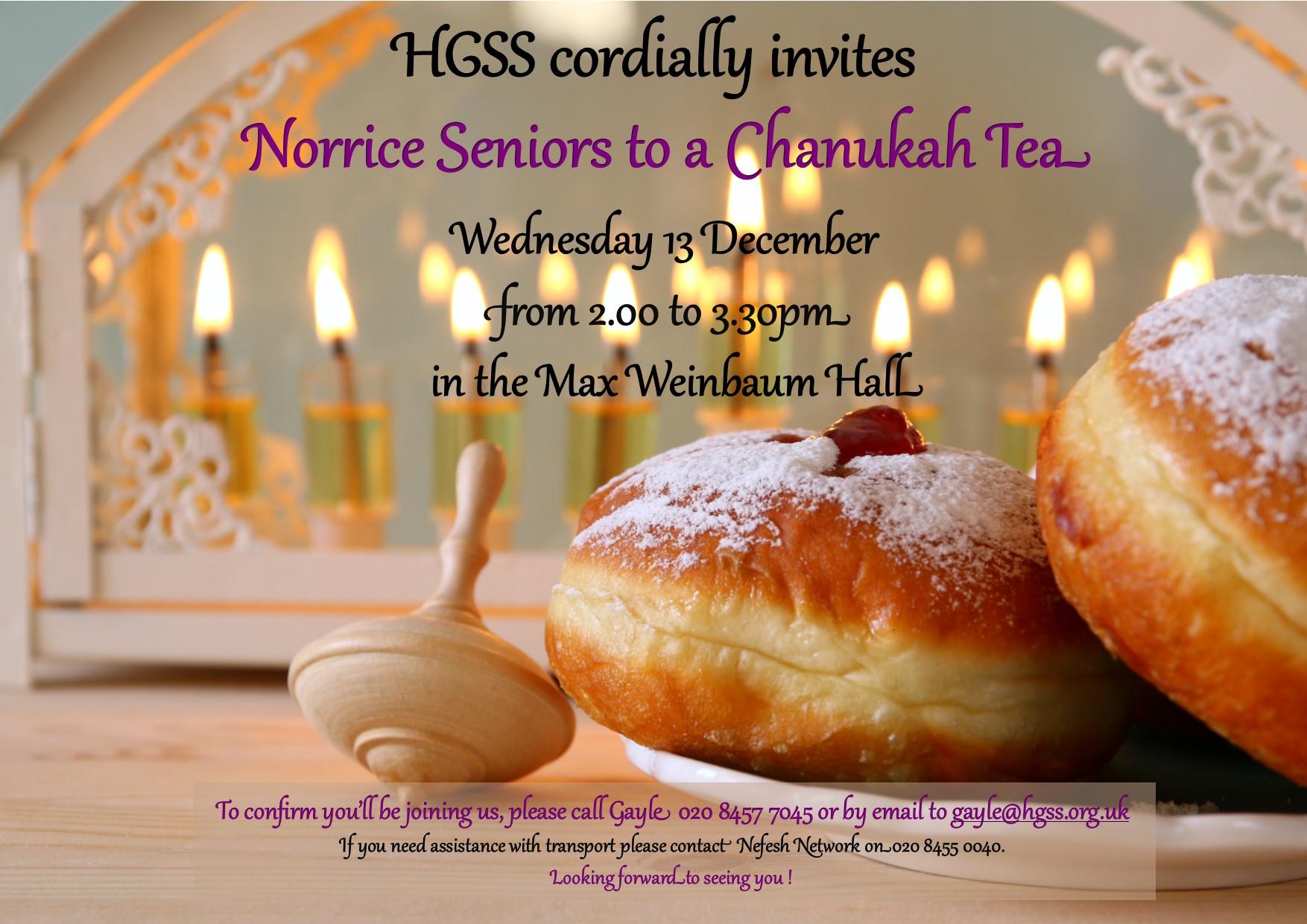 Norrice Seniors Pre Chanukah Tea @ Max Weinbaum Hall