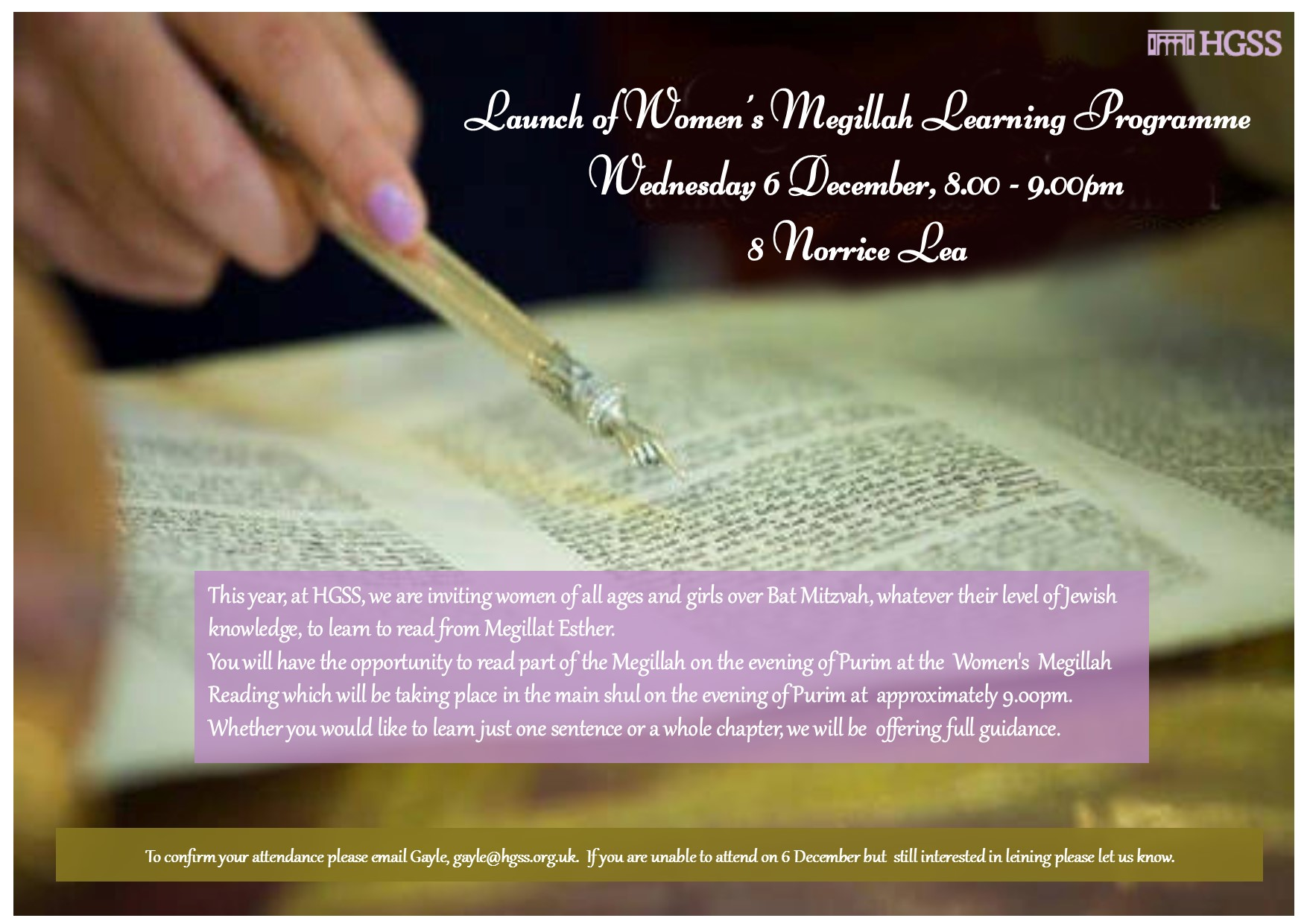 Launch of Women's Megillah Learning Programme @ 8 Norrice Lea
