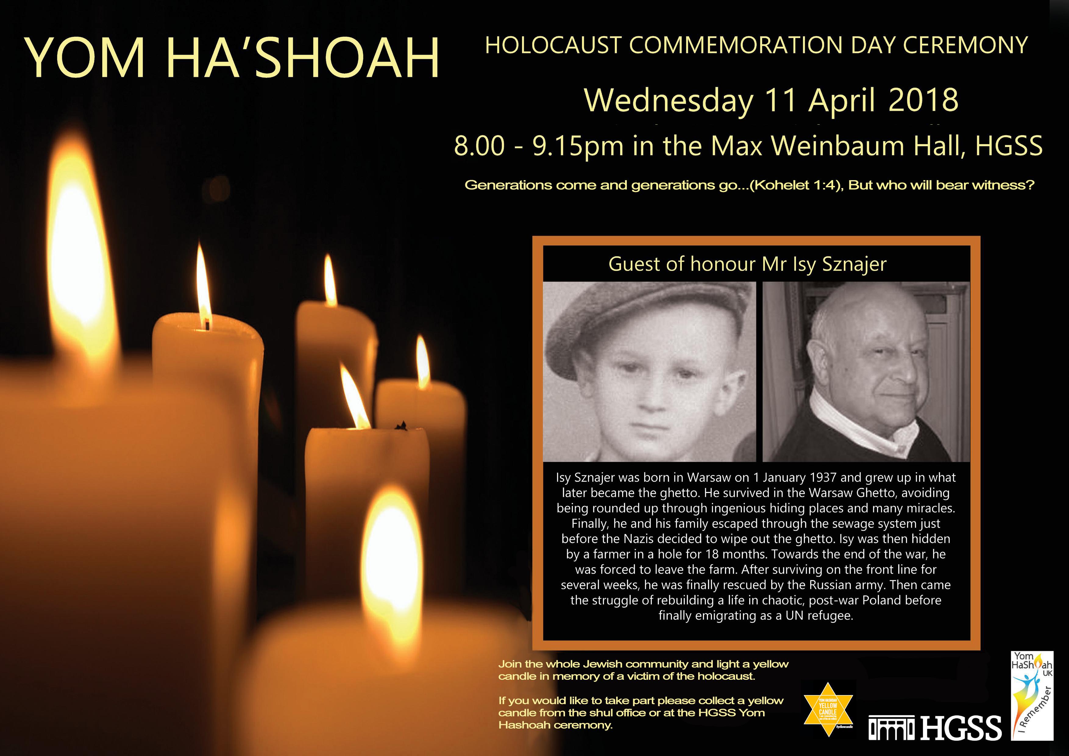 Yom Hashoah Ceremony @ Max Weinbaum Hall