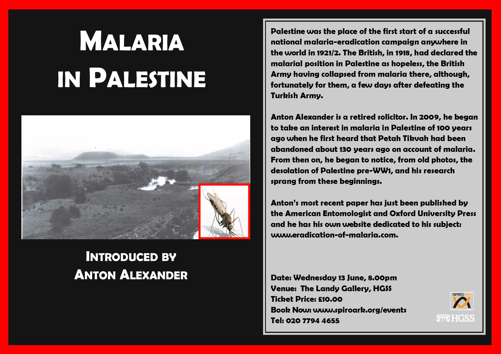 Spiro Ark - Malaria in Palestine @ The Landy Gallery