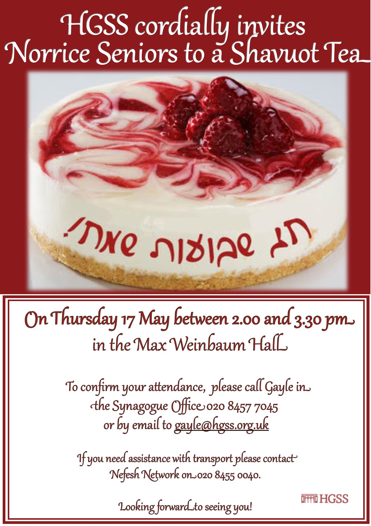 Shavuot Seniors Tea @ Hampstead Garden Suburb Synagogue