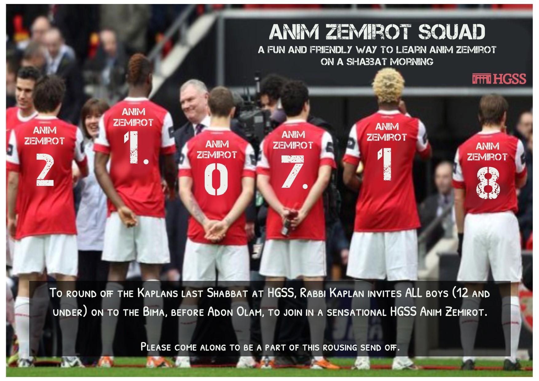 Anim Zemirot Squad - Send off @ Beit Midrash (ground floor)