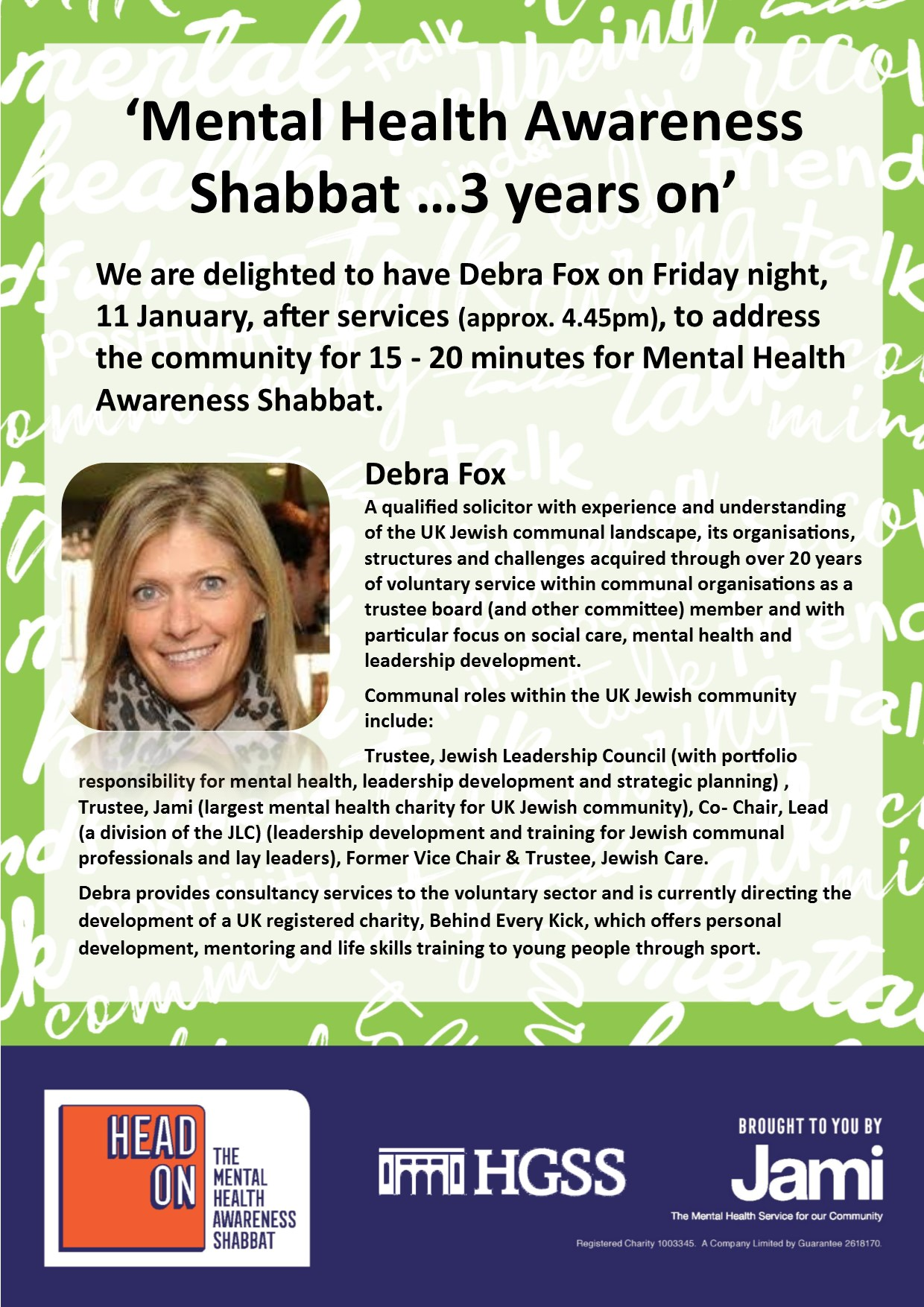 Mental Health Shabbat @ HGSS