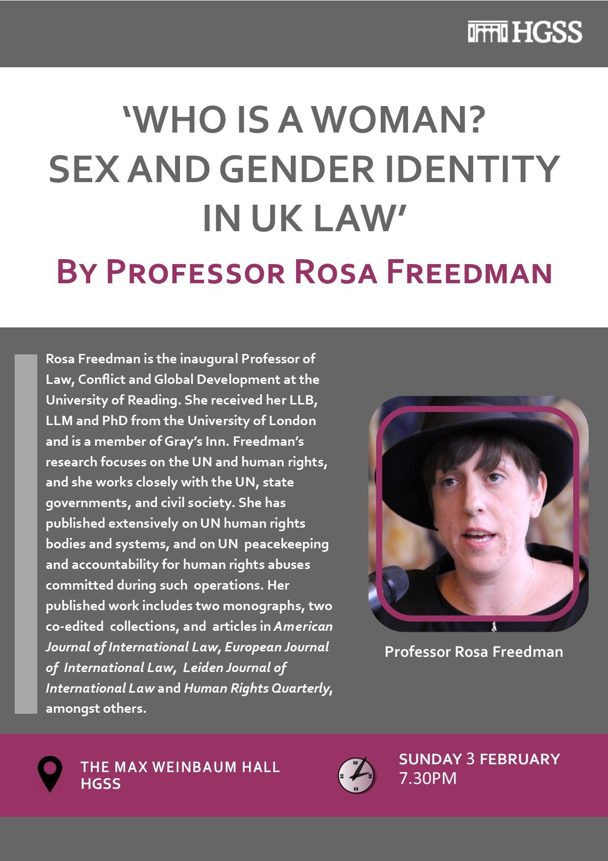Rosa Freedman @ HGSS @ Max Weinbaum Hall