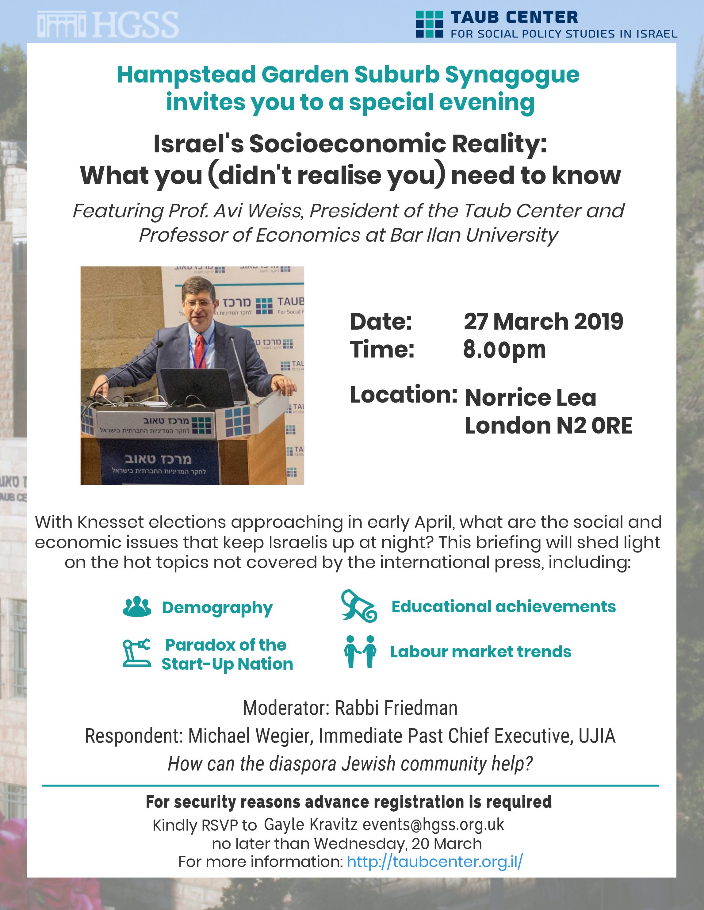 Israel's Socioeconomic reality @ Max Weinbaum Hall