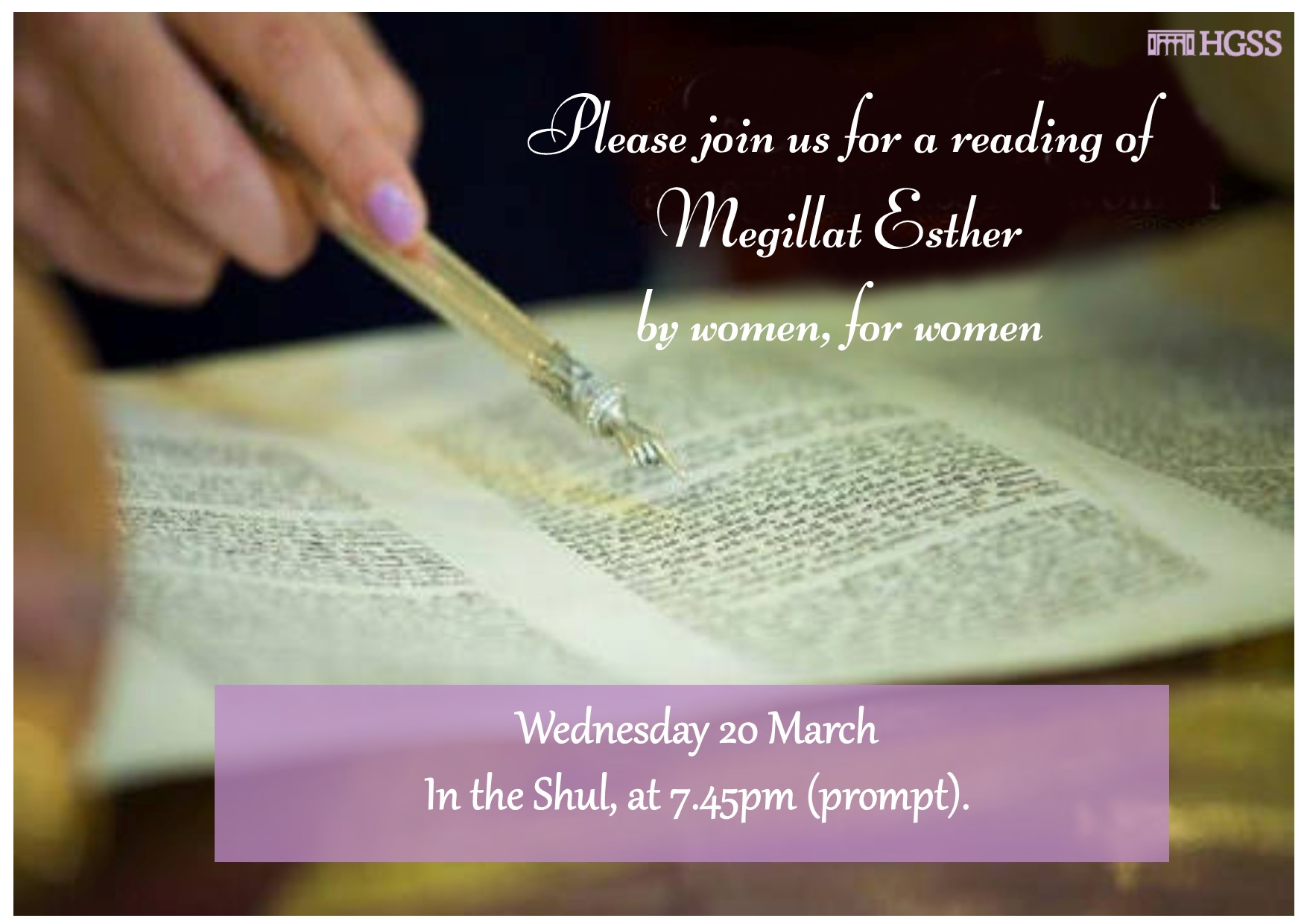 Megillah Reading for Women by Women @ Shul
