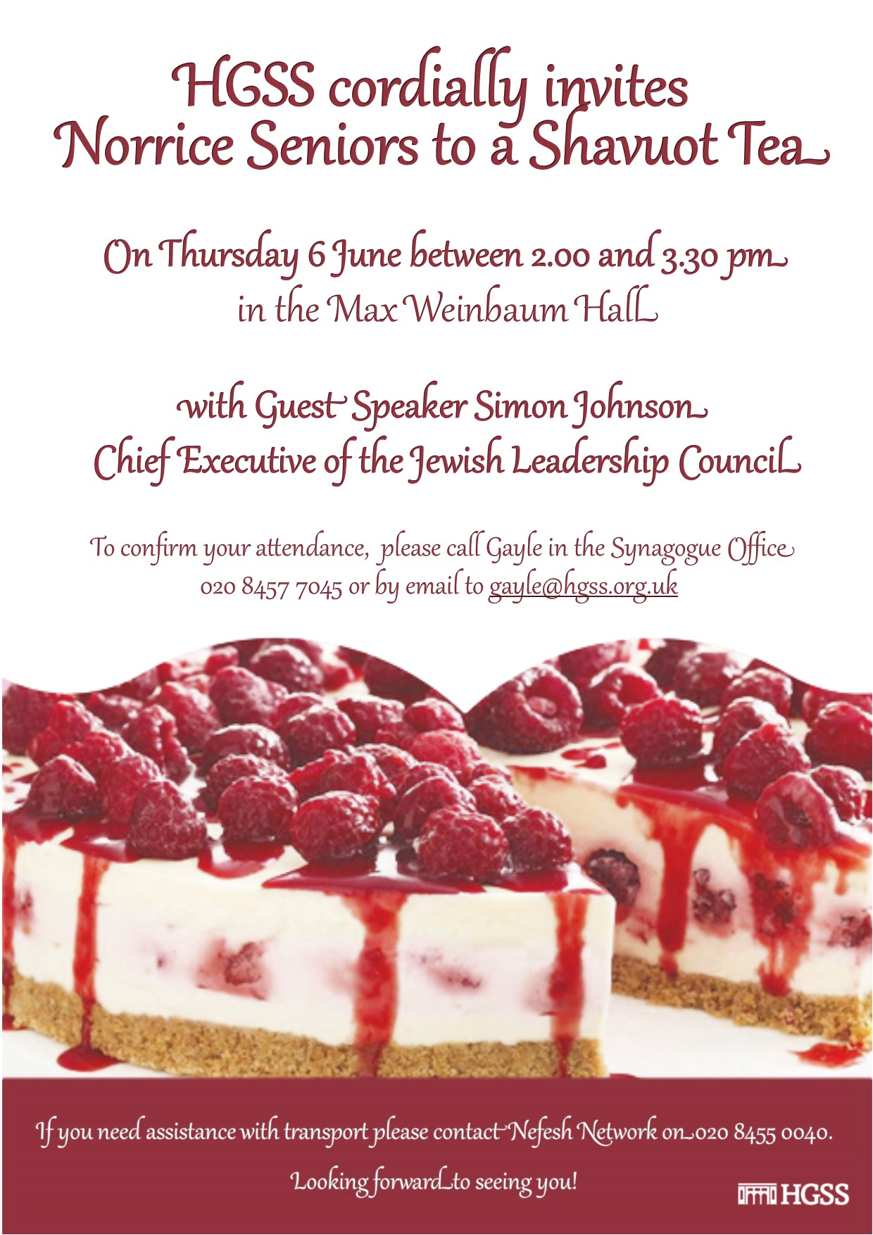 Pre Shavuot Seniors Tea @ Hampstead Garden Suburb Synagogue