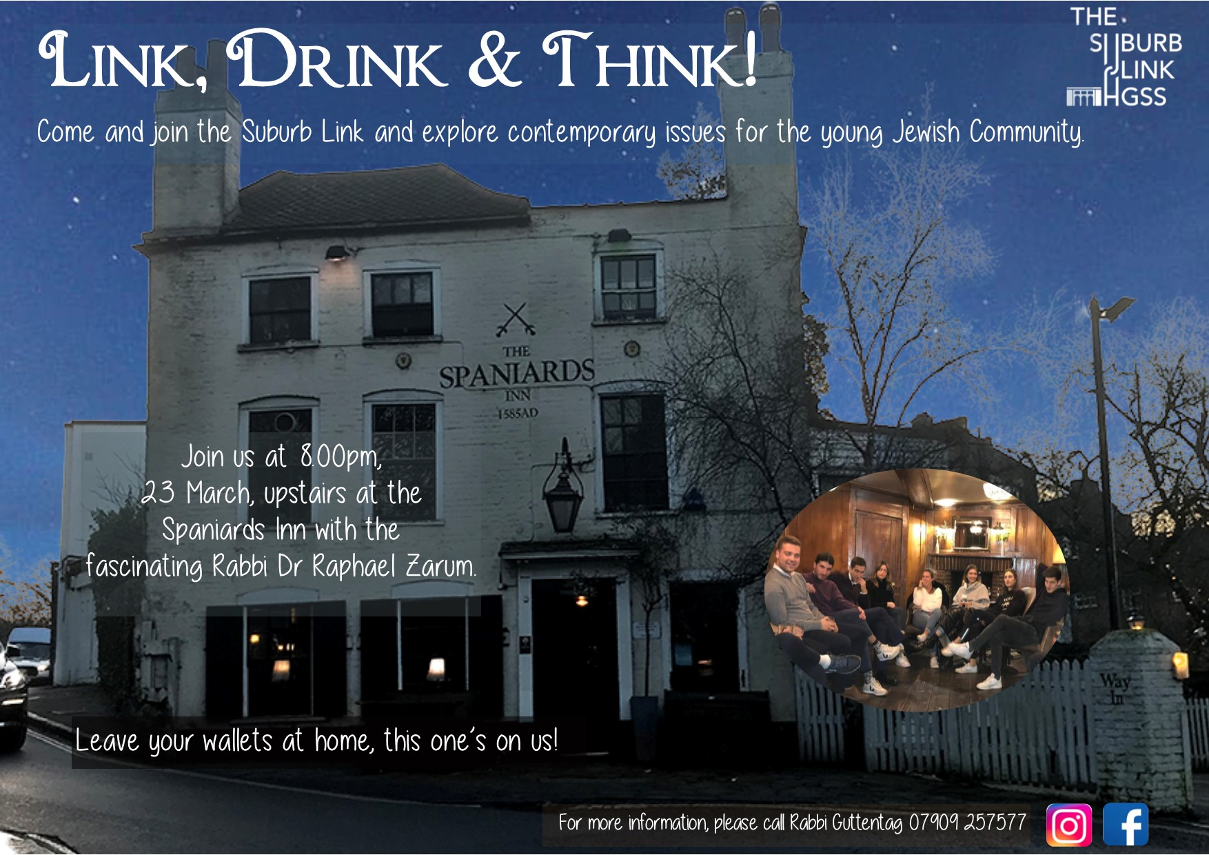 Link, Drink & Think - Postponed @ The Spaniards Inn, NW3 7JJ