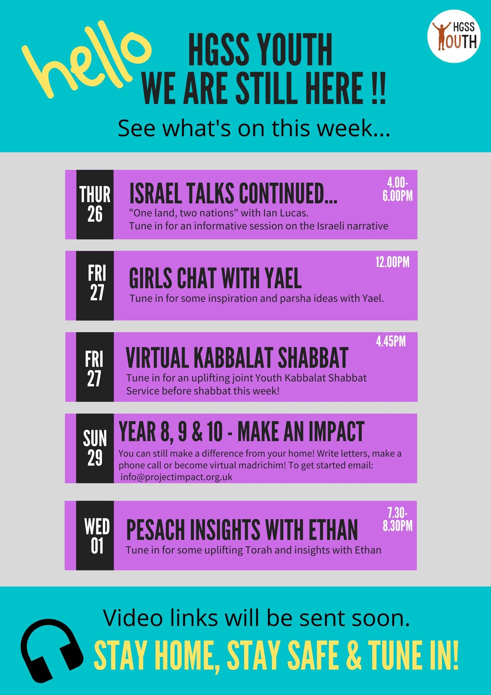 Girls Chat with Yael... (contact Youth Directors for login details) @ TBC