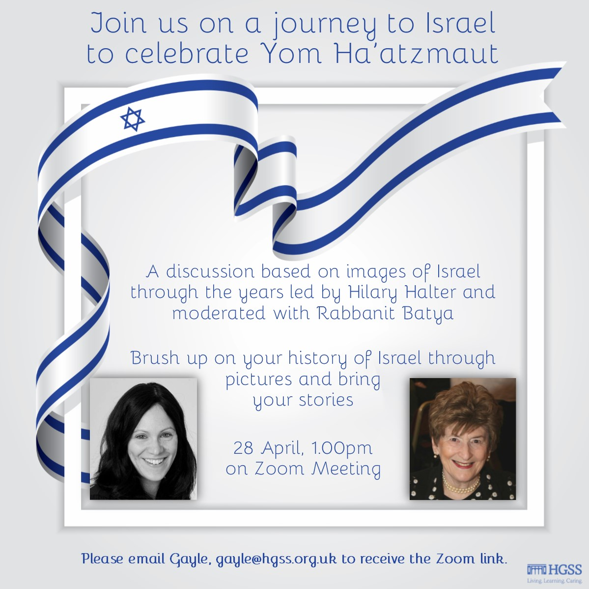 Yom Ha'atzmaut with Hilary Halter @ Online (Contact Gayle for link)