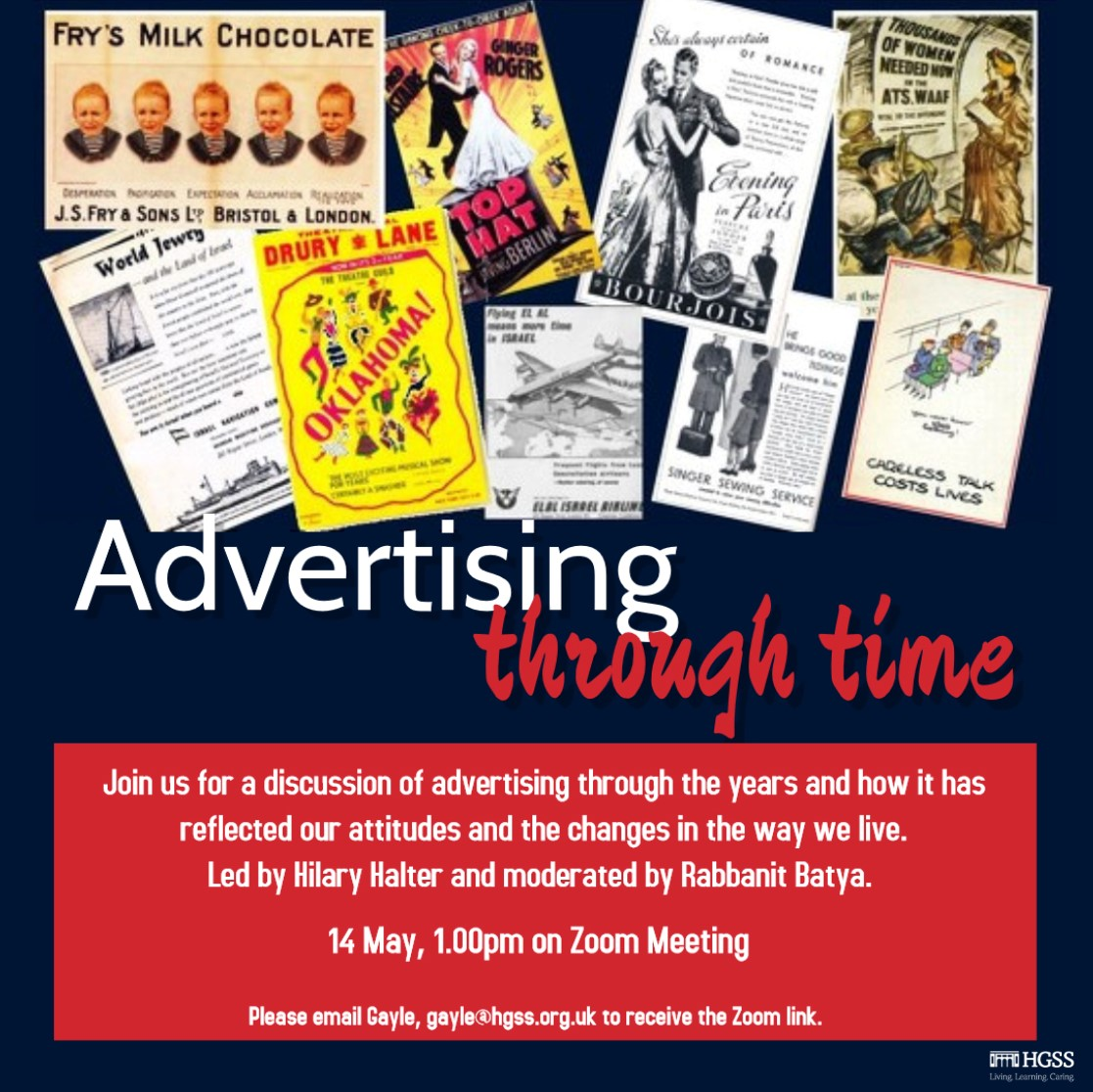Advertising through time with Hilary Halter @ Online (Contact Gayle for link)