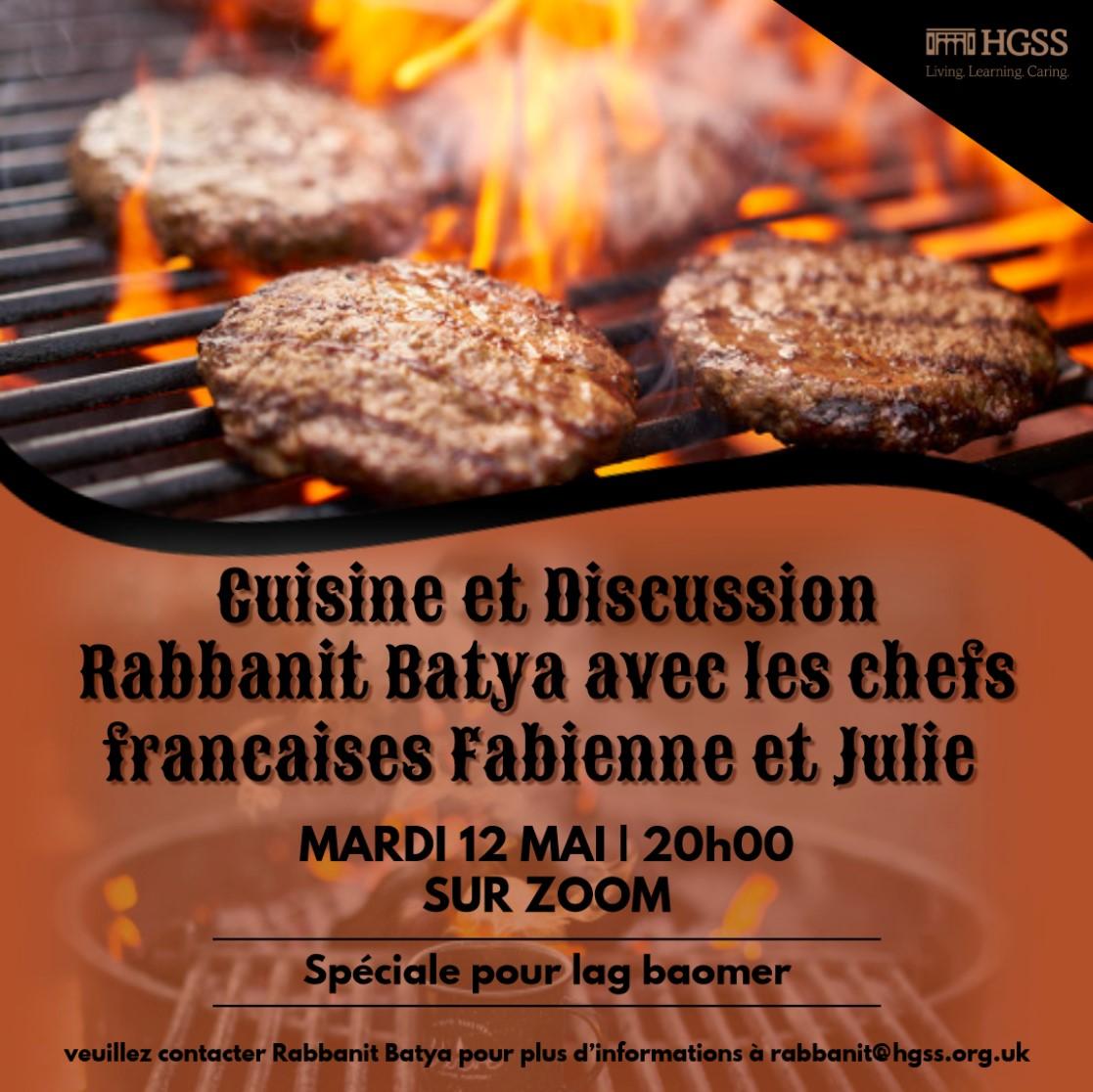 Cuisine et Discussion @ Online (Contact Rabbanit Batya for link)