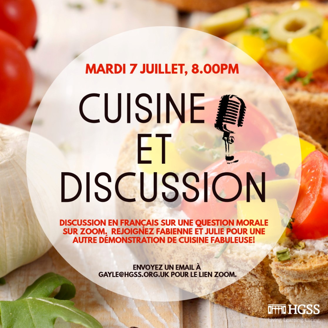 Cuisine et Discussion @ Online (Contact Gayle for link)