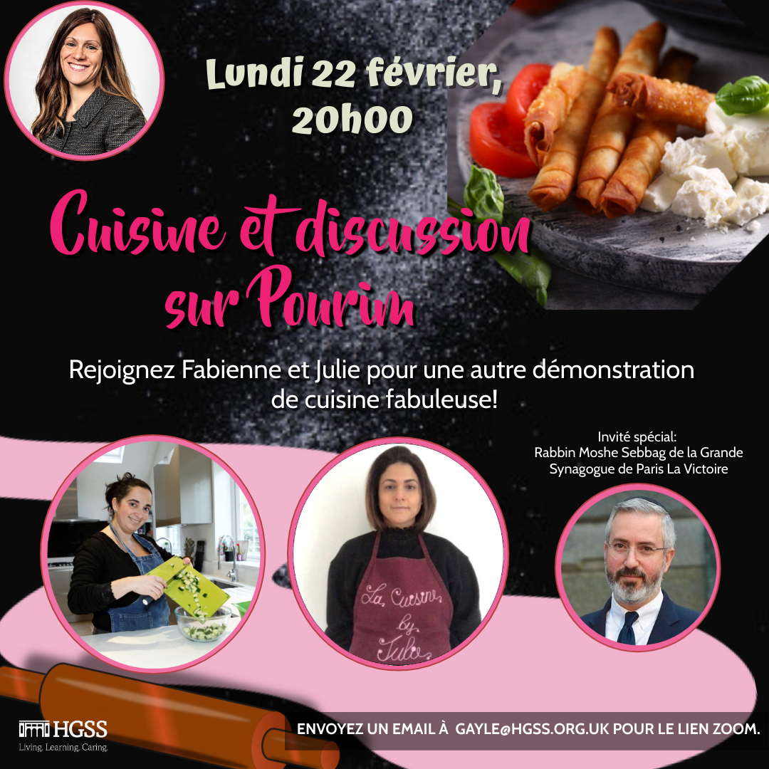 Cuisine et discussion sur Pourim @ Online (Contact Gayle for link)