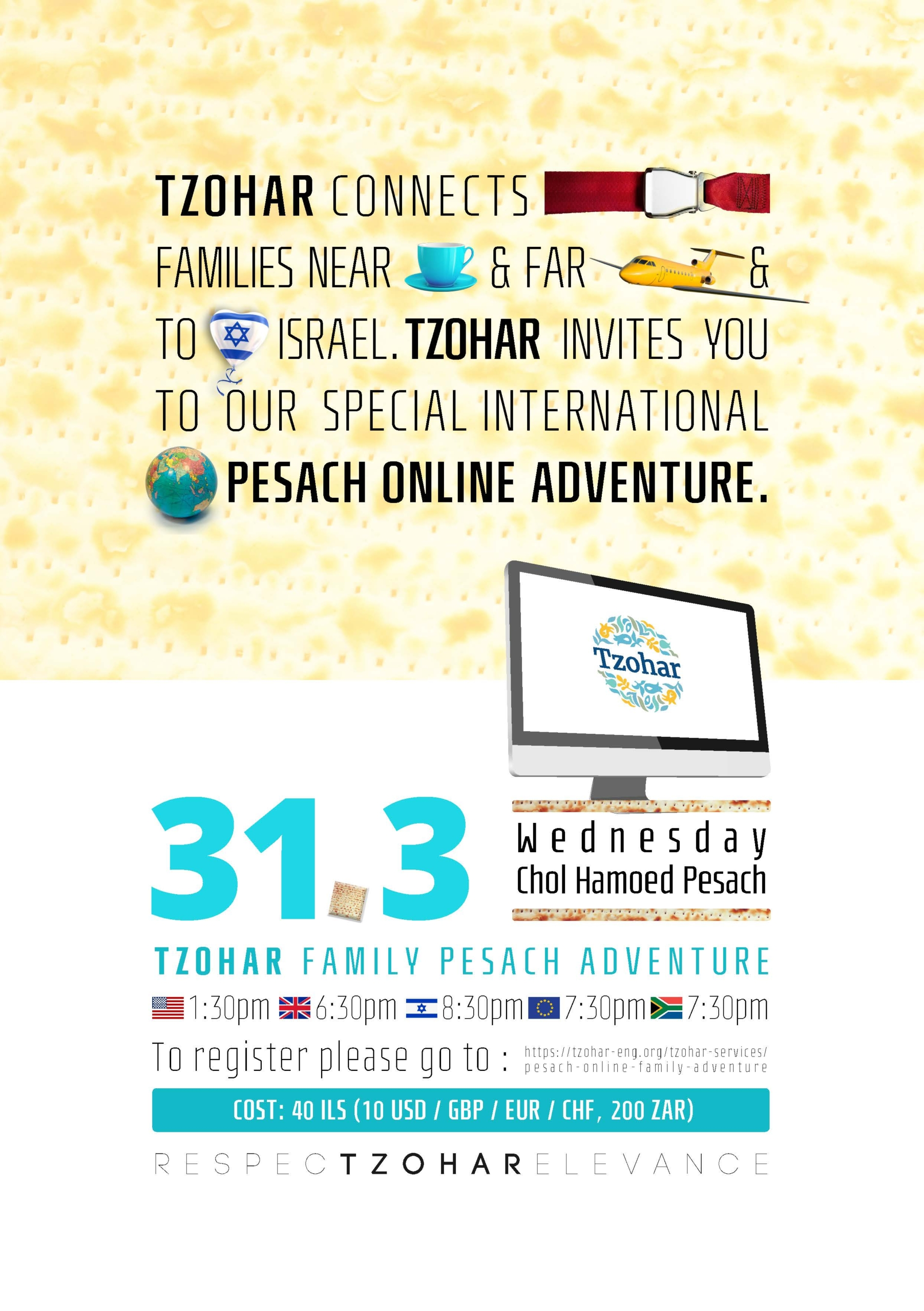 Tzohar Family Pesach Adventure @ Online