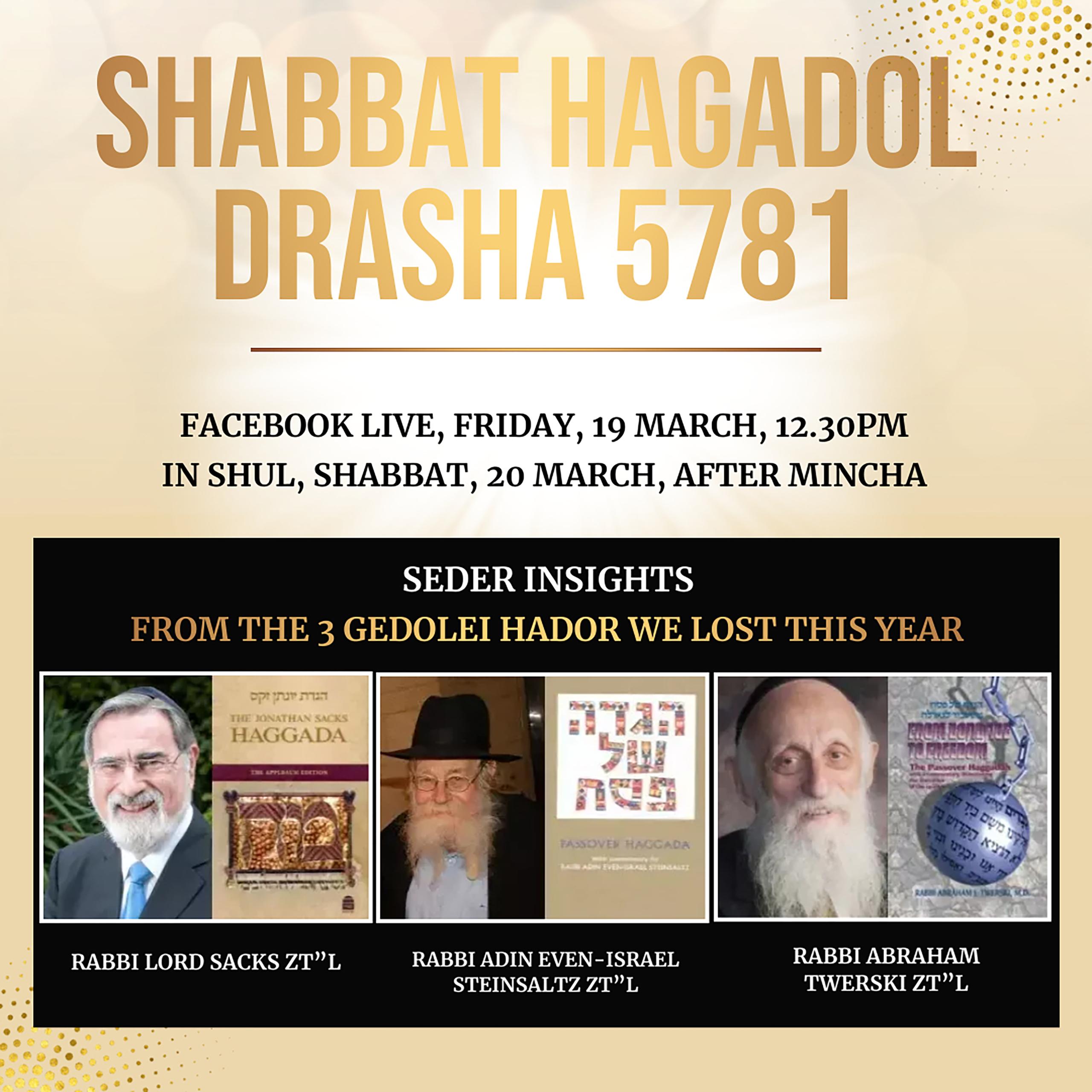 Shabbat HaGadol Drasha @ Facebook Live
